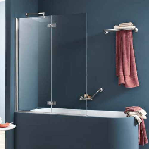 Badscherm 2 Delig.Inda Sim 6000 Rbalt122004an Door Sill Profile For Bath Wall 2 Piece 100cm Chrome