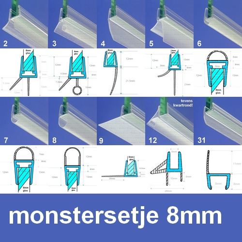 Exa-Lent Universal MON-8 Monstersetje - douchestrippen 8mm